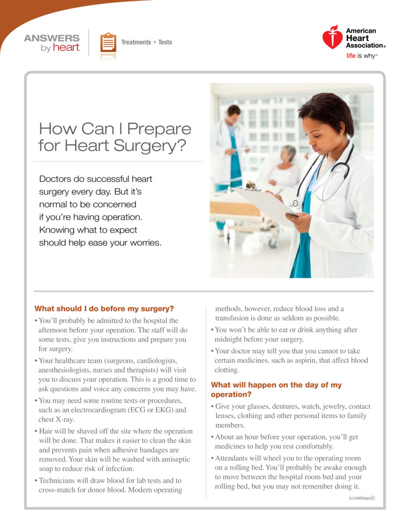 "Poster image for ""How Can I Prepare for Heart Surgery?"""