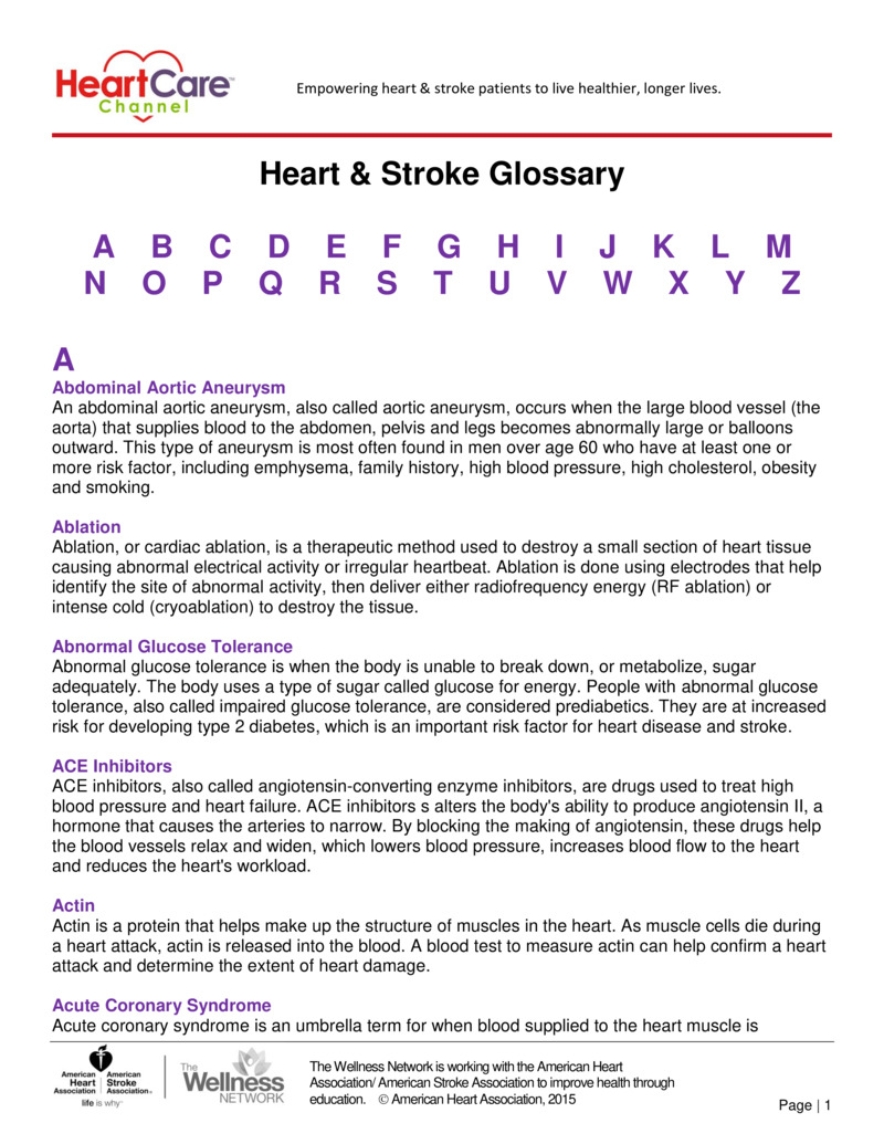 """Poster image for """"Heart & Stroke Glossary"""""""
