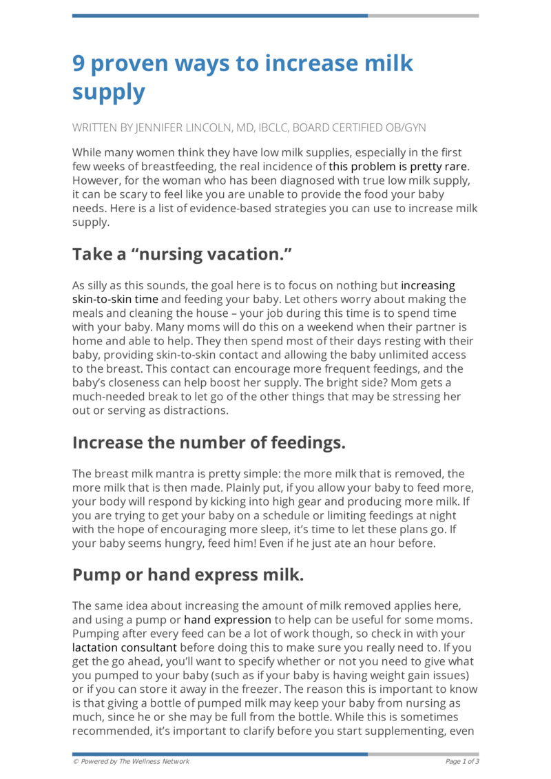 """Poster image for """"9 proven ways to increase milk supply"""""""