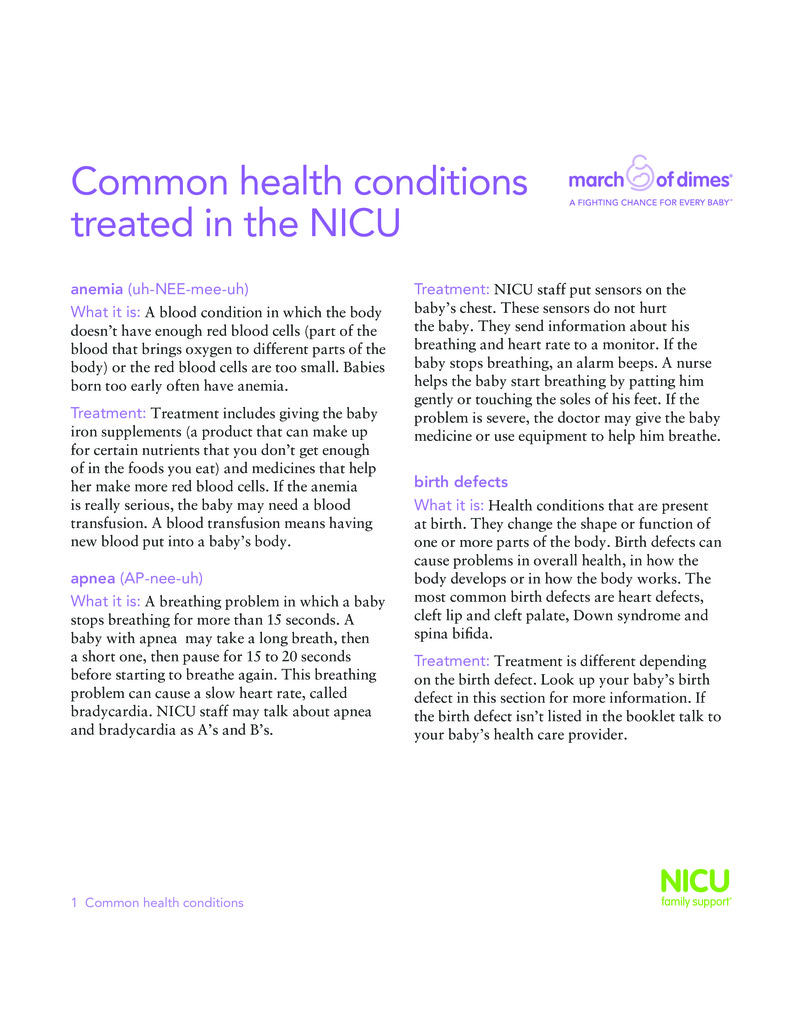"""Poster image for """"Common health conditions treated in the NICU"""""""