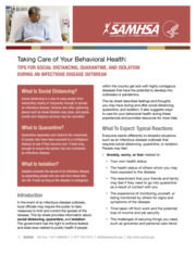 "Thumbnail image for ""Taking Care of Your Behavioral Health: Tips for Social Distancing, Quarantine, and Isolation"""