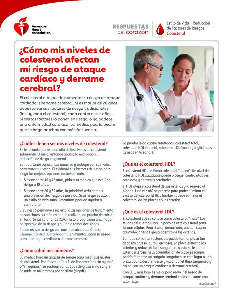 """Poster image for """"¿Cómo mis niveles de colesterol afectan mi riesgo de ataque cardíaco y derrame cerebral?"""""""