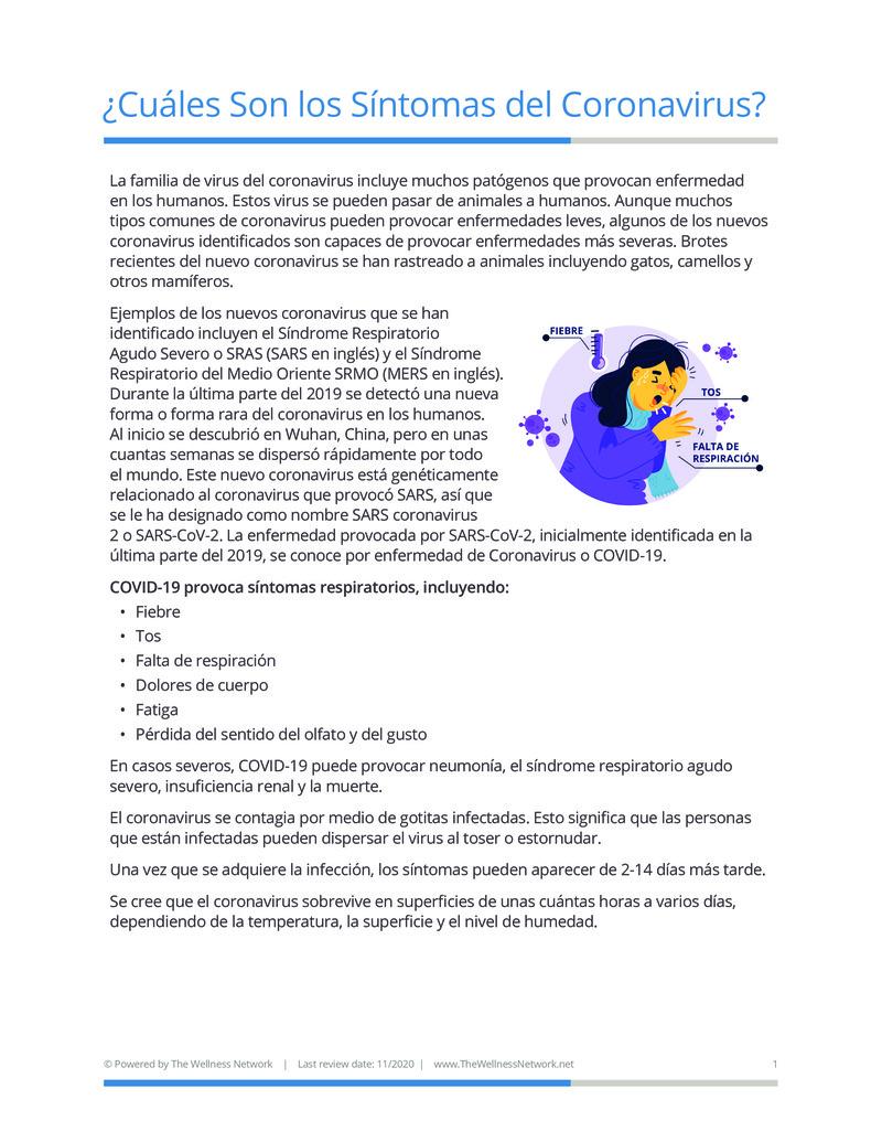 """Poster image for """"¿Cuáles Son los Síntomas del Coronavirus?"""""""