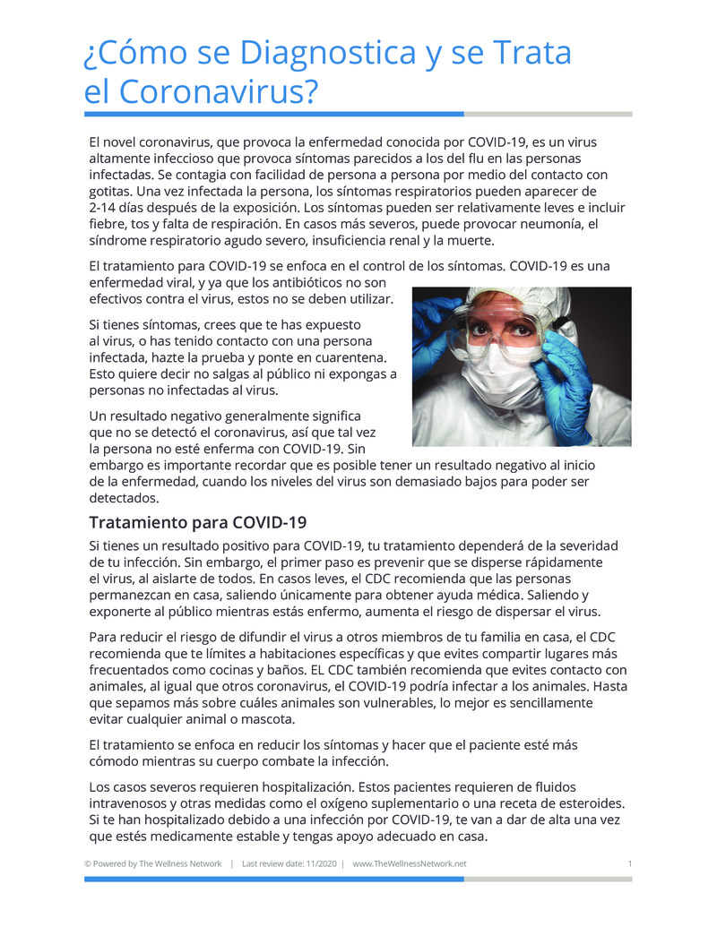"""Poster image for """"¿Cómo se Diagnostica y se Trata el Coronavirus?"""""""