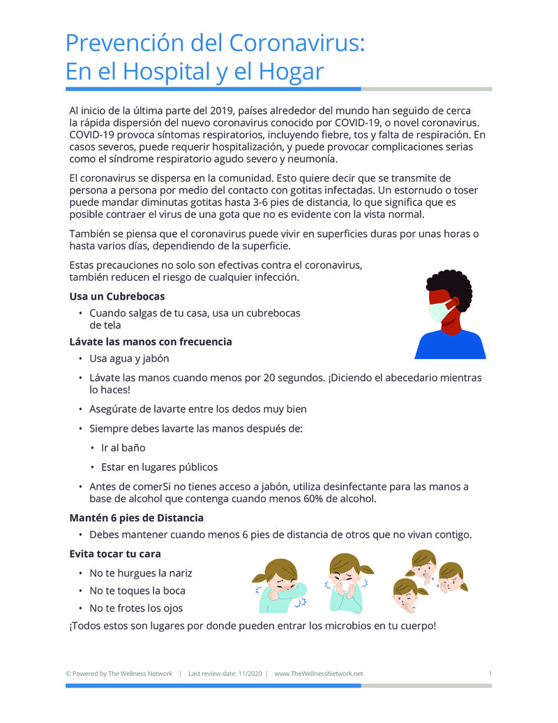 """Poster image for """"Prevención del Coronavirus: En el Hospital y el Hogar"""""""